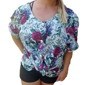 Vintage Floral Button Down Short Sleeve Granny Top
